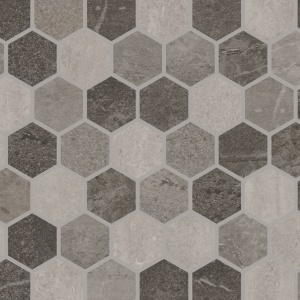 "Charcoal Blend 2"" Hex Mosaic"