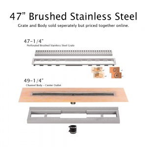 "47"" Brushed Stainless Drain"