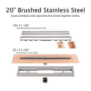 "20"" Brushed Stainless Drain"