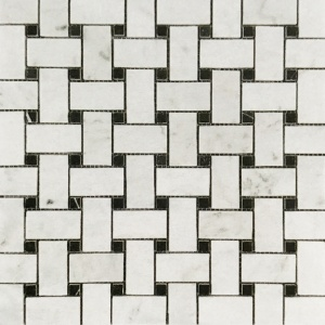 "1"" x 2"" Basket Weave w/ Nero Marquina Mosaic"