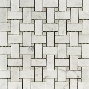 "1"" x 2"" Basket Weave w/ Shy Grey Mosaic"