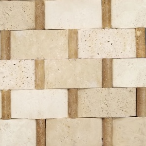 "2"" x 4"" Cambered Ivory-Noche Pencil Basketweave Mosaic"