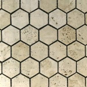 "2"" x 2"" Tumbled Hexagon Mosaic"