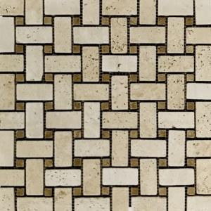 """1"""" x 2"""" Basketweave w/Noche Mosaic"""