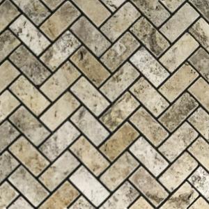 """1"""" x 2"""" Tumbled Herringbone Mosaic"""