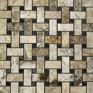 "1"" x 2"" Honed Basket Weave w/Black Marble Mosaic"