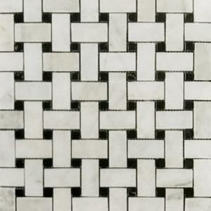 "1"" x 2"" Tumbled Basket Weave w/Black Marble Mosaic"