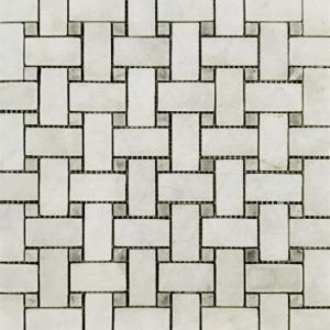 "1"" x 2"" Basket Weave w/ Grey Marble Mosaic"